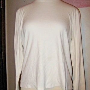 Ivory Cream Mock Neck Stretch Knit Long Sleeve Top